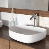 Peony Matte Stone Vessel Bathroom Sink Set with Otis Vessel Faucet in Brushed Nickel