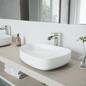 Peony Matte Stone Vessel Bathroom Sink Set with Niko Vessel Faucet in Brushed Nickel
