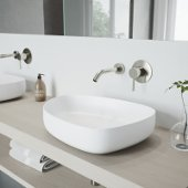 Peony Matte Stone Vessel Bathroom Sink Set with Olus Wall Mount Faucet in Brushed Nickel