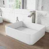 18'' Wide Jasmine Matte Stone Vessel Bathroom Sink Set with Duris Vessel Faucet in Brushed Nickel