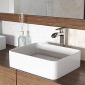18'' Wide Jasmine Matte Stone Vessel Bathroom Sink Set with Niko Vessel Faucet in Chrome