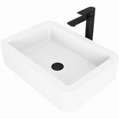 Petunia Matte Stone™ Vessel Bathroom Sink Set With Norfolk Vessel Faucet In Matte Black Finish, Pop-Up Drain Included, 15-3/4''W X 22-3/4''D X 5-3/8''H, ADA Compliant