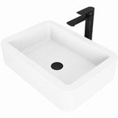 Petunia Matte Stone™ Vessel Bathroom Sink Set With Norfolk Vessel Faucet In Matte Black Finish, Pop-Up Drain Included, 15-3/4''W X 22-3/4''D X 5-3/8''H, ADA Compliant