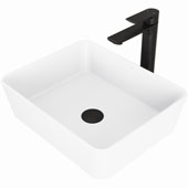 Marigold Matte Stone™ Vessel Bathroom Sink Set With Norfolk Vessel Faucet And Soap Dispenser In Matte Black Finish, Pop-Up Drain Included, 14-3/8''W X 17-3/4''D X 5''H, ADA Compliant