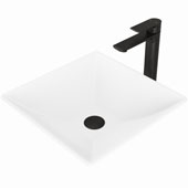 Hibiscus Matte Stone™ Vessel Bathroom Sink Set With Norfolk Vessel Faucet And Soap Dispenser In Matte Black Finish, Pop-Up Drain Included, 16''W X 16''D X 4-3/4''H, ADA Compliant