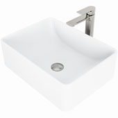 Amaryllis Matte Stone™ Vessel Bathroom Sink Set With Norfolk Vessel Faucet And Soap Dispenser In Brushed Nickel Finish, Pop-Up Drain Included, 14-3/8''W X 19-3/4''D X 6-1/4''H, ADA Compliant
