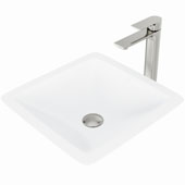 Begonia Matte Stone™ Vessel Bathroom Sink Set With Norfolk Vessel Faucet And Soap Dispenser In Brushed Nickel Finish, Pop-Up Drain Included, 16-1/2''W X 16-1/2''D X 4''H, ADA Compliant