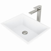 Vinca Matte Stone™ Vessel Bathroom Sink Set With Norfolk Vessel Faucet And Soap Dispenser In Brushed Nickel Finish, Pop-Up Drain Included, 13-3/4''W X 18''D X 4-5/8''H, ADA Compliant