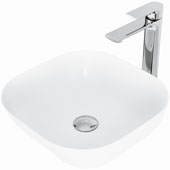 Camellia Matte Stone™ Vessel Bathroom Sink Set With Norfolk Vessel Faucet And Soap Dispenser In Chrome Finish, Pop-Up Drain Included, 14-3/8''W X 14-3/8''D X 4-1/2''H, ADA Compliant