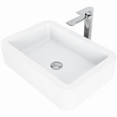 Petunia Matte Stone™ Vessel Bathroom Sink Set With Norfolk Vessel Faucet In Chrome Finish, Pop-Up Drain Included, 15-3/4''W X 22-3/4''D X 5-3/8''H, ADA Compliant