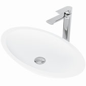 Wisteria Matte Stone™ Vessel Bathroom Sink Set With Norfolk Vessel Faucet And Soap Dispenser In Chrome Finish, Pop-Up Drain Included, 13-1/2''W X 23-1/8''D X 3-7/8''H, ADA Compliant