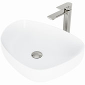 Peony Matte Stone™ Vessel Bathroom Sink Set With Norfolk Vessel Faucet And Soap Dispenser In Brushed Nickel Finish, Pop-Up Drain Included, 15-1/4''W X 20''D X 5''H, ADA Compliant