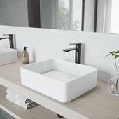 Jasmine Matte Stone™ Vessel Bathroom Sink Set With Norfolk Vessel Faucet In Matte Black Finish, Pop-Up Drain Included, 14-5/8''W X 18-1/8''D X 4-7/8''H, ADA Compliant