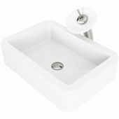 Petunia Matte Stone™ Vessel Bathroom Sink Set With Waterfall Faucet In Brushed Nickel Finish, Pop-Up Drain Included, 15-3/4''W X 23''D X 5-3/8''H, ADA Compliant