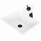 Vinca Matte Stone™ Vessel Bathroom Sink Set With Waterfall Faucet And Soap Dispenser In Antique Rubbed Bronze Finish, Pop-Up Drain Included, 13-3/4''W X 18''D X 4-5/8''H, ADA Compliant