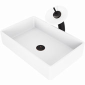 Magnolia Matte Stone™ Vessel Bathroom Sink Set With Waterfall Faucet In Antique Rubbed Bronze Finish, Pop-Up Drain Included, 13-7/8''W X 21-1/4''D X 4-3/4''H, ADA Compliant