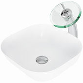 Camellia Matte Stone™ Vessel Bathroom Sink Set With Waterfall Faucet And Soap Dispenser In Chrome Finish, Pop-Up Drain Included, 14-3/8''W X 14-3/8''D X 4-1/2''H, ADA Compliant