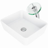 Marigold Matte Stone™ Vessel Bathroom Sink Set With Waterfall Faucet And Soap Dispenser In Chrome Finish, Pop-Up Drain Included, 14-3/8''W X 17-3/4''D X 5''H, ADA Compliant