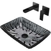 Plutonian Glass Vessel Bathroom Sink Set With Atticus Wall-Mount Faucet And Soap Dispenser In Matte Black Finish, Pop-Up Drain Included, 18-1/8''W X 13-1/8''D X 4-1/4''H, ADA Compliant