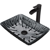 Plutonian Glass Vessel Bathroom Sink Set With Niko Vessel Faucet And Soap Dispenser In Matte Black Finish, Pop-Up Drain Included, 18-1/8''W X 13-1/8''D X 4-1/4''H, ADA Compliant