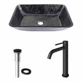 VIGO 17-7/8'' Wide Rectangular Gray Onyx Glass Vessel Bathroom Sink and Lexington cFiber© Vessel Faucet Set in Matte Black with Pop-Up Drain