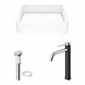 VIGO 18'' Wide Jasmine Matte Stone™ Vessel Bathroom Sink and Lexington cFiber© Vessel Faucet Set in Chrome with Pop-Up Drain