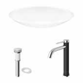 VIGO 23-1/8'' Wide Wisteria Matte Stone™ Vessel Bathroom Sink and Lexington cFiber© Vessel Faucet Set in Chrome with Pop-Up Drain