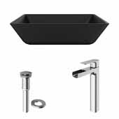 VIGO 15-3/4'' Wide Black Roma MatteShell™ Vessel Bathroom Sink and Amada Vessel Faucet Set in Chrome with Pop-Up Drain