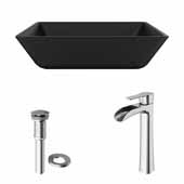 VIGO 15-3/4'' Wide Black Roma MatteShell™ Vessel Bathroom Sink and Niko Vessel Faucet Set in Brushed Nickel with Pop-Up Drain