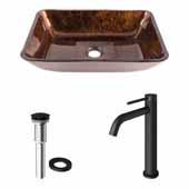 VIGO 17-7/8'' Wide Rectangular Russet Glass Vessel Bathroom Sink Set and Lexington cFiber© Vessel Faucet with Drain in Matte Black
