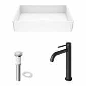 VIGO 21-1/4'' Wide Magnolia Matte Stone™ Vessel Bathroom Sink and Lexington cFiber© Vessel Bathroom Faucet in Matte Black with Matte White Pop-Up Drain