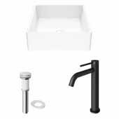 VIGO 14-1/2'' Wide Dianthus Matte Stone™ Vessel Bathroom Sink and Lexington cFiber© Vessel Bathroom Faucet in Matte Black with Matte White Pop-Up Drain