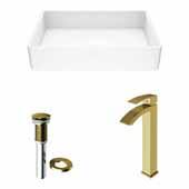 VIGO 21-1/4'' Wide Magnolia Matte Stone™ Vessel Bathroom Sink and Duris Vessel Faucet in Matte Brushed Gold with Pop-Up Drain