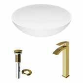 VIGO 16'' Wide Lotus Matte Stone™ Vessel Bathroom Sink and Duris Vessel Faucet in Matte Brushed Gold with Pop-Up Drain