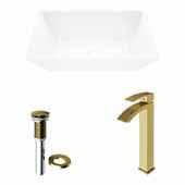 VIGO 18'' Wide Vinca Matte Stone™ Vessel Bathroom Sink and Duris Vessel Faucet in Matte Brushed Gold with Pop-Up Drain