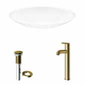 VIGO 23-1/8'' Wide Wisteria Matte Stone™ Vessel Bathroom Sink and Seville Vessel Faucet in Matte Brushed Gold with Pop-Up Drain