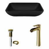 VIGO 18'' Wide Black Sottile MatteShell™ Vessel Bathroom Sink and Niko Vessel Faucet in Matte Brushed Gold with Pop-Up Drain