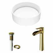 VIGO 16'' Wide Anvil Matte Stone™ Vessel Bathroom Sink and Niko Vessel Faucet in Matte Brushed Gold with Pop-Up Drain