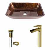 VIGO 17-7/8'' Wide Rectangular Russet Glass Vessel Bathroom Sink and Amada Vessel Faucet in Matte Brushed Gold with Pop-Up Drain