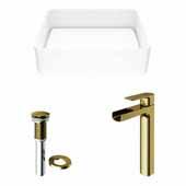 VIGO 18'' Wide Jasmine Matte Stone™ Vessel Bathroom Sink and Amada Vessel Faucet in Matte Brushed Gold with Pop-Up Drain