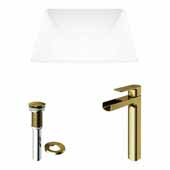 VIGO 16'' Wide Hibiscus Matte Stone™ Vessel Bathroom Sink and Amada Vessel Faucet in Matte Brushed Gold with Pop-Up Drain