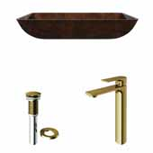 VIGO 22-1/2'' Wide Rectangular Russet Glass Vessel Bathroom Sink and Norfolk Vessel Faucet in Matte Brushed Gold with Pop-Up Drain