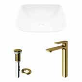 VIGO 13-3/4'' Wide Hyacinth Matte Stone™ Vessel Bathroom Sink and Norfolk Vessel Faucet in Matte Brushed Gold with Pop-Up Drain