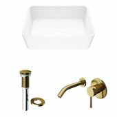 VIGO 17-3/4'' Wide Marigold Matte Stone™ Vessel Bathroom Sink and Olus Wall Mount Bathroom Faucet in Matte Brushed Gold with Pop-Up Drain