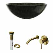 VIGO 16-1/2'' Wide Round Gray Onyx Glass Vessel Sink and Olus Wall Mount Bathroom Faucet in Matte Brushed Gold with Pop-Up Drain