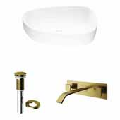 VIGO 20'' Wide Peony Matte Stone™ Vessel Bathroom Sink and Titus Wall Mount Bathroom Faucet in Matte Brushed Gold with Pop-Up Drain