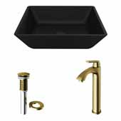 VIGO 15-3/4'' Wide Black Roma MatteShell™ Vessel Bathroom Sink and Linus Vessel Mount Bathroom Faucet in Matte Brushed Gold with Pop-Up Drain