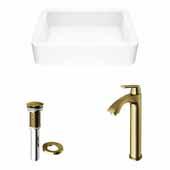 VIGO 22-3/4'' Wide Petunia Matte Stone™ Vessel Bathroom Sink and Linus Vessel Mount Bathroom Faucet in Matte Brushed Gold with Pop-Up Drain