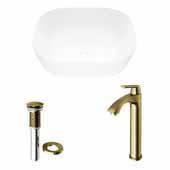 VIGO 14-3/8'' Wide Camellia Matte Stone™ Vessel Bathroom Sink and Linus Vessel Mount Bathroom Faucet in Matte Brushed Gold with Pop-Up Drain