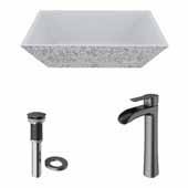 VIGO 18'' Wide Concrete Composite Grey Square Calendula Vessel Bathroom Sink Set with Niko Vessel Mount 1-Handle Single-Hole Bathroom Faucet in Graphite Black with Pop-Up Drain